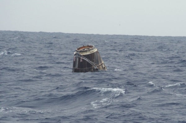 Dragon Capsule Returns from Space with Splash Landing