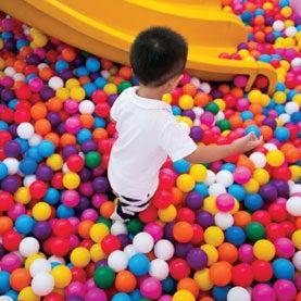 asian boy, child playing, kids ball pit
