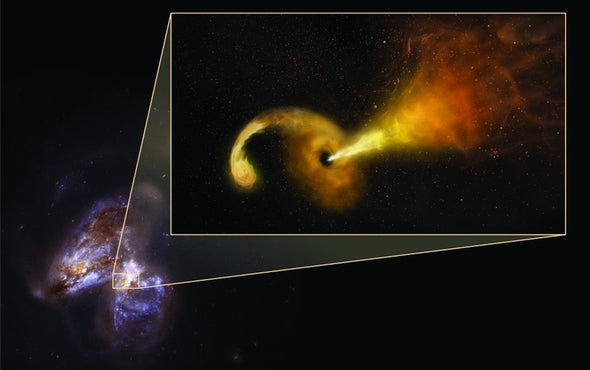 Giant Black Hole Swallows a Star and Belches Out a Superfast Particle Jet