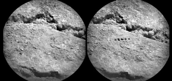 Curiosity Rover Bores Holes in Mars Soil with Laser Beam