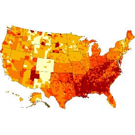 CountyLevel Diabetes Belt Carves A Swath Through US South - Map of the us south