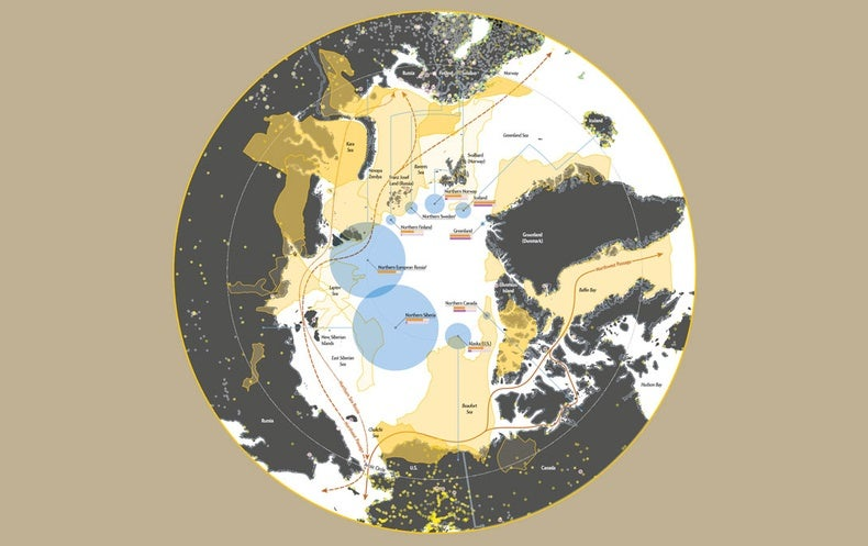 Map of arctic countries and their rising interests in the region
