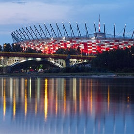 National Stadium in Warsaw by night, from the Vistula.