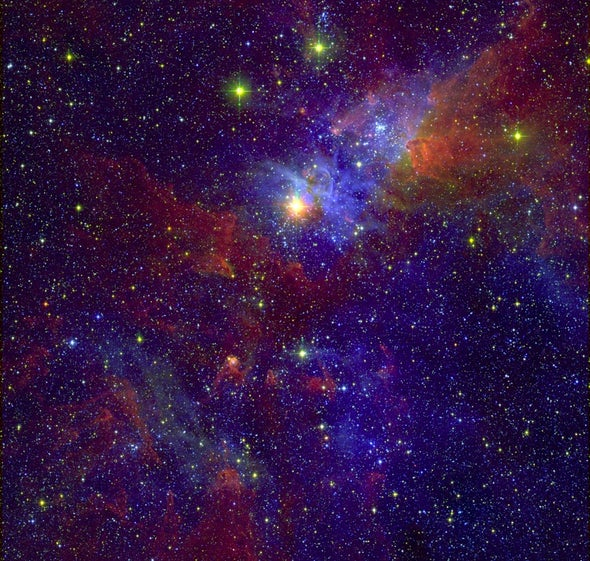 Turbulent Nursery: Young Stars in Nearby Nebula Already Exploding