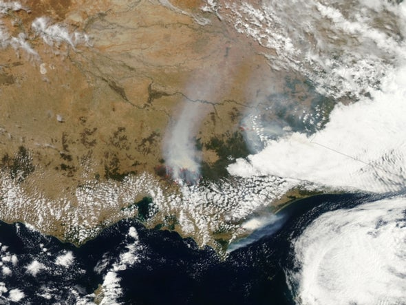 Australian bushfires from above