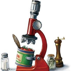 microscope, canned food