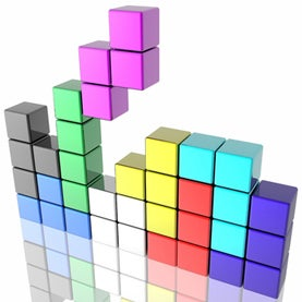 A graphic representation of the video game Tetris.