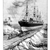 An idea to move ships by trains, 1884: