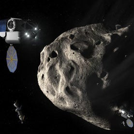 Twin Space Exploration Vehicles approach asteroid