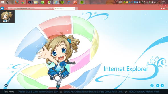 Befriending a cutesy anime kid, IE 11 cozies up to Windows 7