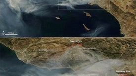 California wildfires visible from space