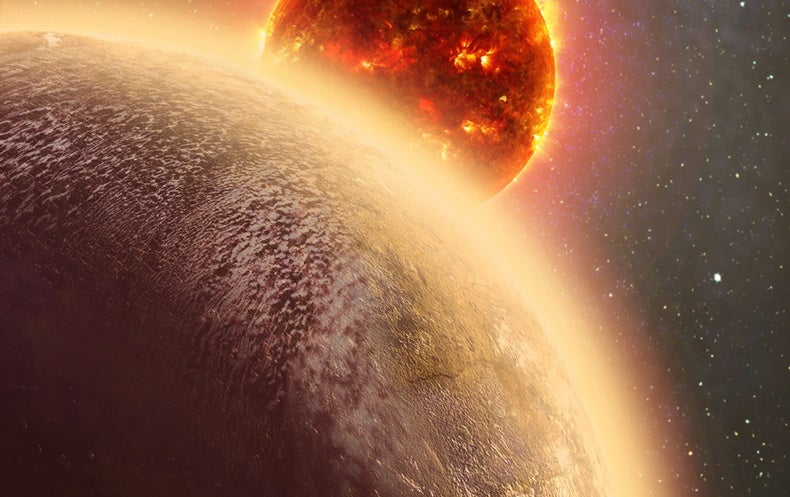 This artist's rendition shows the Earth-mass planet GJ 1132b circling its parent star. New observations suggest the planet's thick atmosphere may harbor water or methane. Credit: Dana Berry / Skyworks Digital / CfA