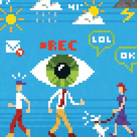 google glass, eyeball on man's head, augmented reality