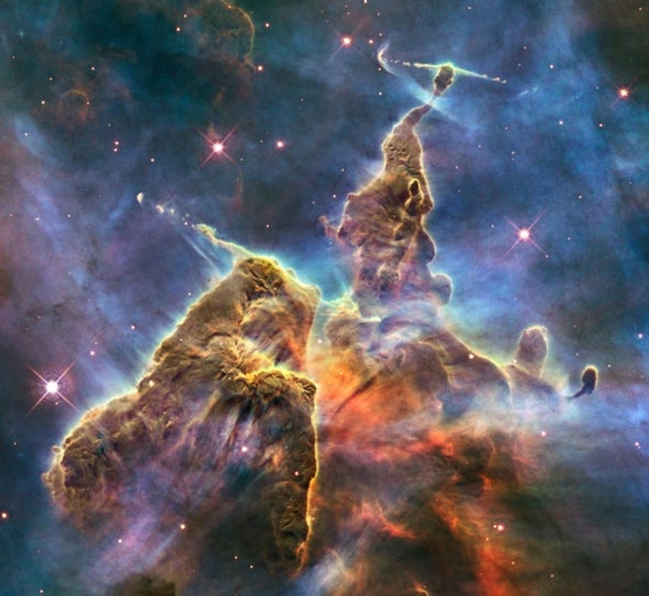 New view of dusty spires marks Hubble's 20th birthday