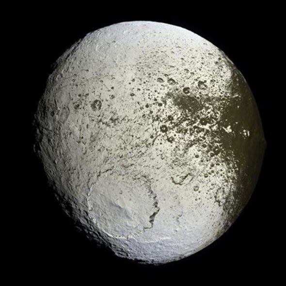 Bright Side of Two-Toned Saturn Moon