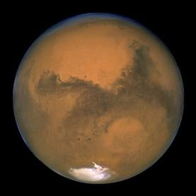 NASA's Hubble Space Telescope snapped this shot of Mars on Aug. 26, 2003, when the Red Planet was 34.7 million miles from Earth. The picture was taken just 11 hours before Mars made its closest approach to us in 60,000 years