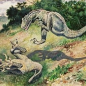 RECONSTRUCTION of a pair of fighting dryptosaurs