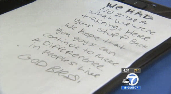 Stolen computers arrive back at nonprofit -- with apology note