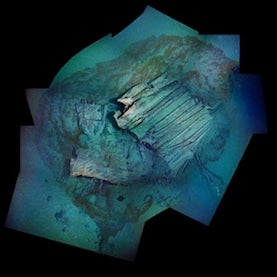 Titanic debris field mosaic images