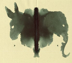 donkey/elephant inkblot, republican and democratic party inkblot