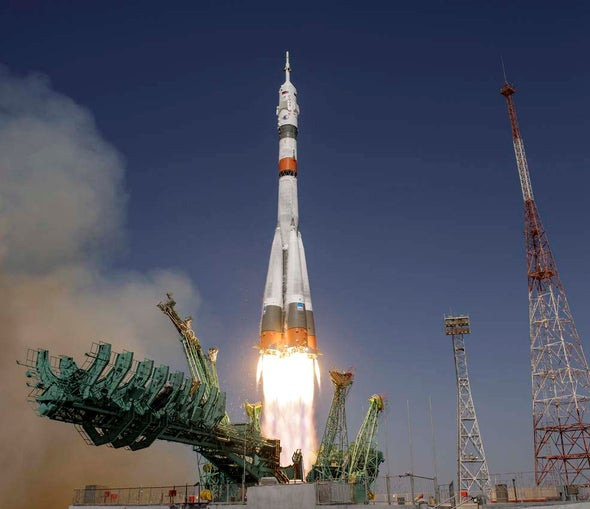 Russian Crew Arrives at Space Station for a Historic Film Shoot