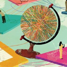 globe, big data, pie chart