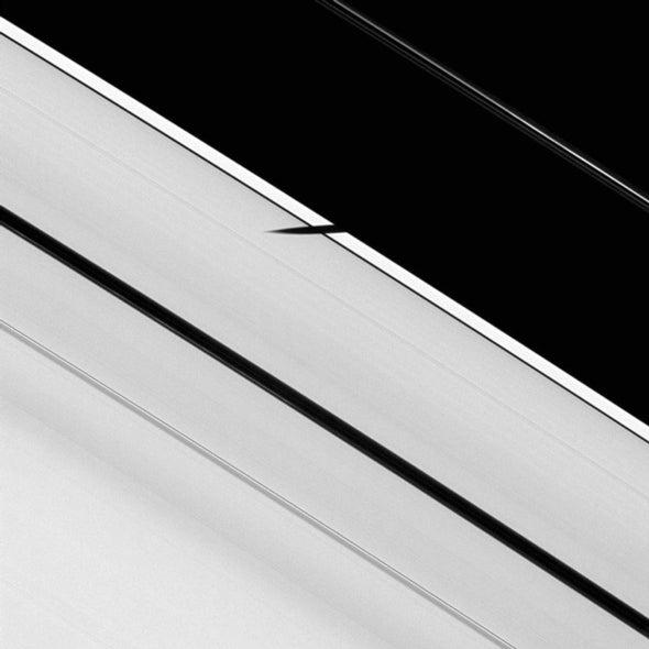 Moon shadow on Saturn's rings