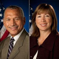 Charles Bolden and Lori Garver