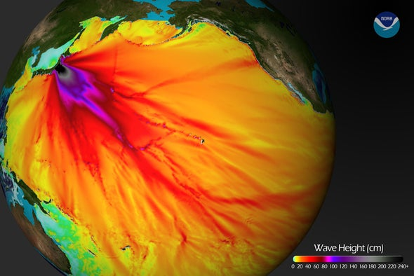 NOAA map predicts tsunami wave heights around the Pacific Rim