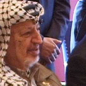 Arafat (with PNA cabinet members?) at a meeting in Copenhagen, 1999