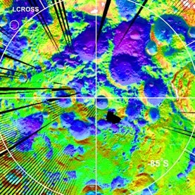 Map of the lunar south pole and Cabeus crater