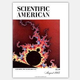 Cover of the August 1985 issue of Scientific American showing a fractal pattern