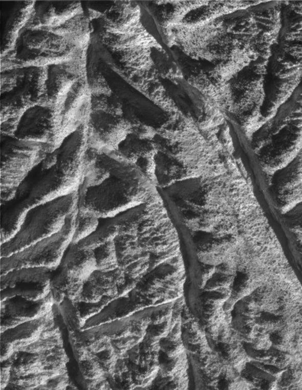 Cassini flyby shows Enceladus's wrinkled surface