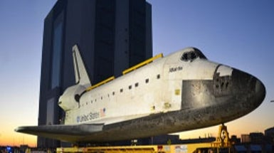 Space Shuttle Leaves for Museum Display