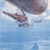 "A British ""submarine scout"": a blimp powered by the aircraft fuselage slung beneath it. Simple but effective, used for coastal patrols during World War One."