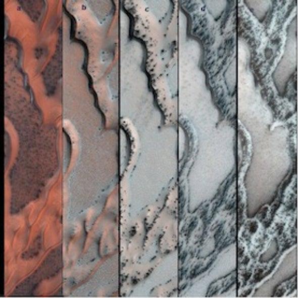 "Dry Ice ""Smoke"" Carves Up Sand Dunes on Mars"