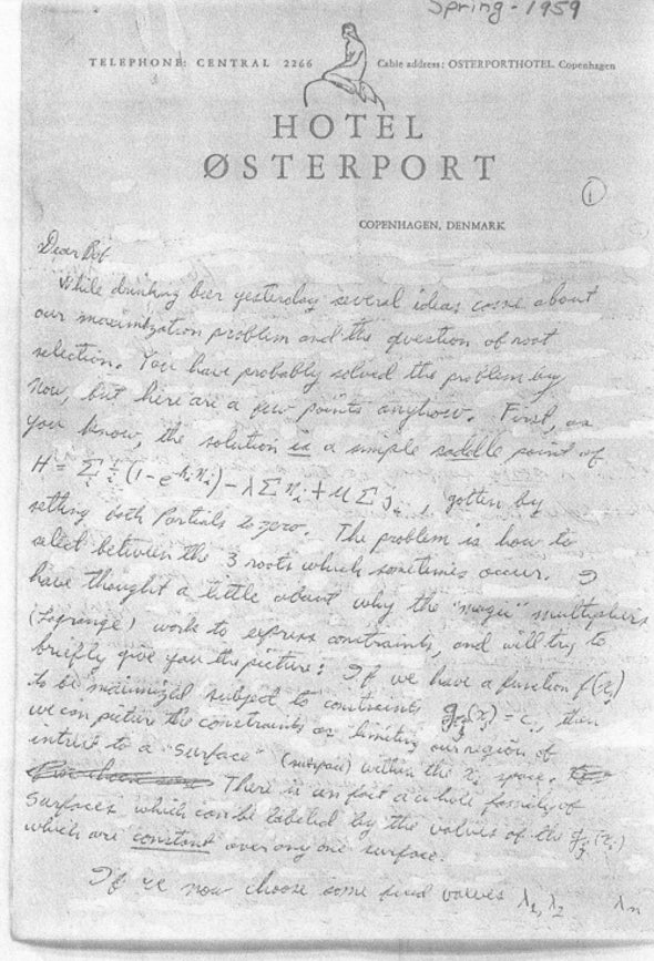 Transcript of page 1 of the Hotel Østerport note.
