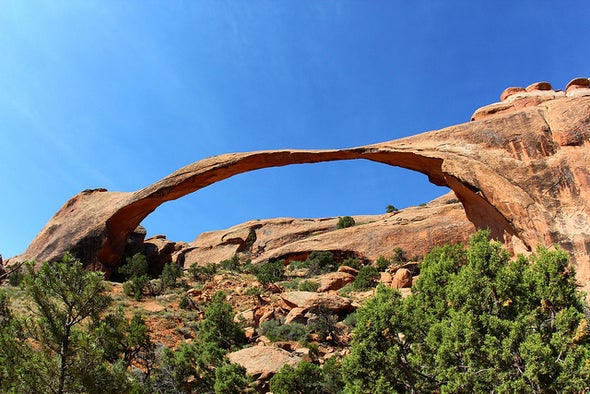 Sandstone Arches Form under Their Own Stress