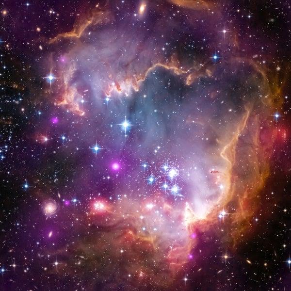 In a Neighboring Galaxy Newborn Stars Shine in Spectral Light