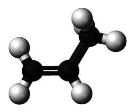 Ball and stick model of the propylene molecule.