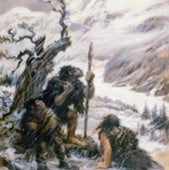 NEANDERTALS caught in a blizzard