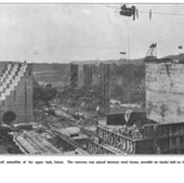 The walls of the Gatun Locks being built, 1912: