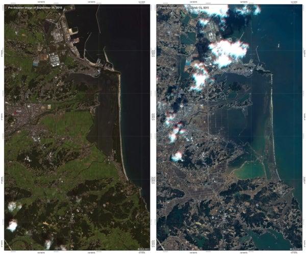 Satellite images show tsunami-ravaged Japan coast