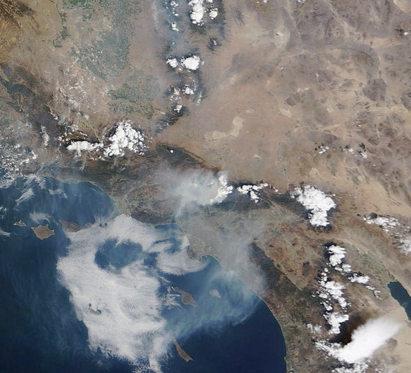 Los Angeles County's Station Fire visible from space