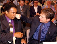 Mohammed Ali and Michael J. Fox