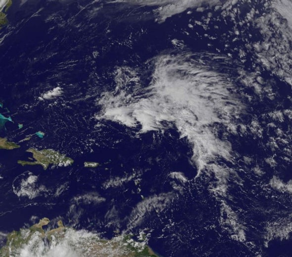Early riser: Pre-hurricane season, a storm system appears in the Atlantic