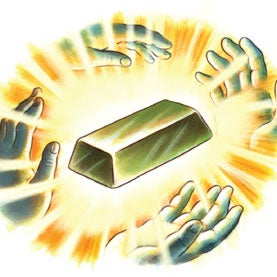 Gold bar surronded by halo of hands