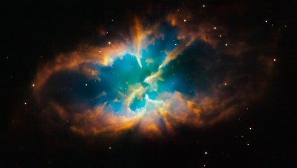 A planetary nebula within a cluster